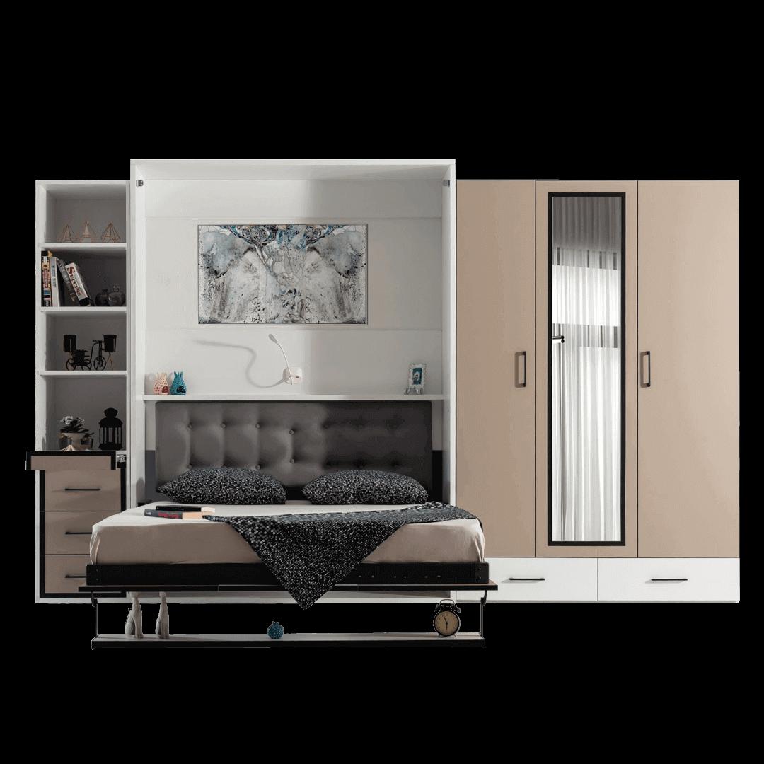 Lit escamotable Pratix   armoire lit escamotable vertical 2 places enface