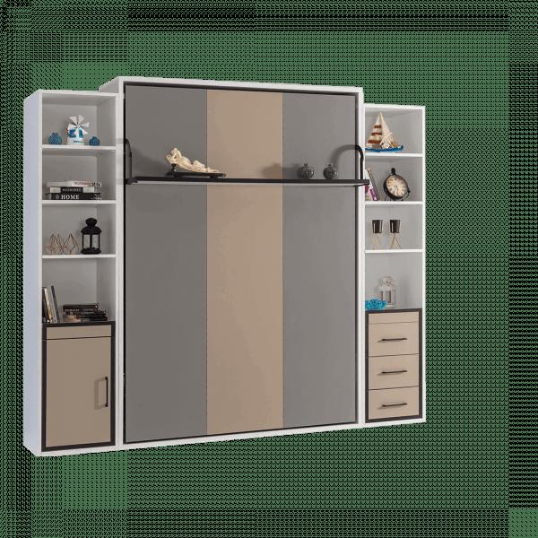 Lit escamotable Pratix | armoire lit escamotable vertical 2 places gris anthracite