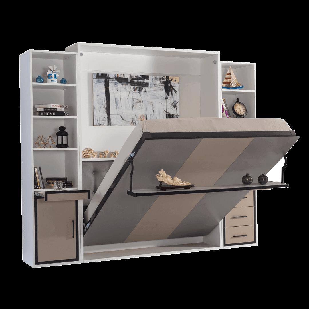 armoire lit escamotable vertical 2 places gris anthracite lit ouvert 2