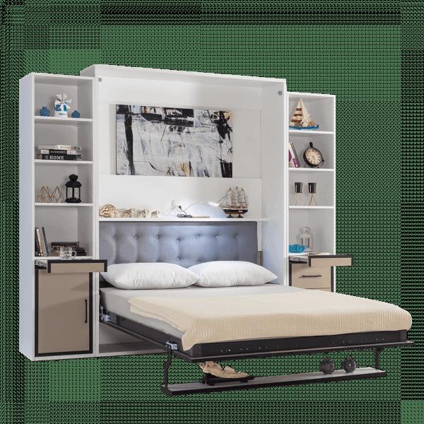 Lit escamotable Pratix | armoire lit escamotable vertical 2 places gris anthracite lit ouvert