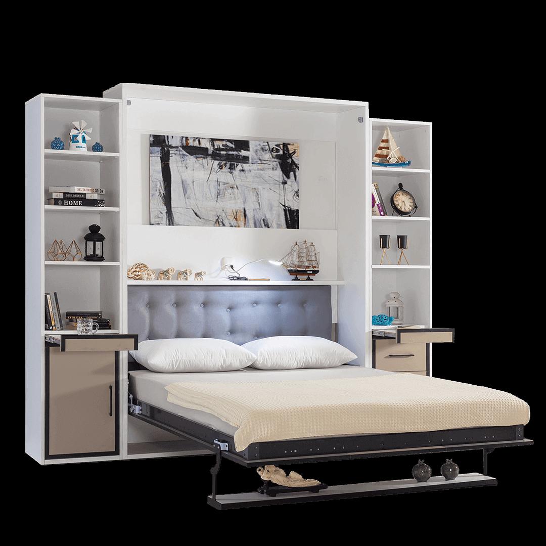 armoire lit escamotable vertical 2 places gris anthracite lit ouvert