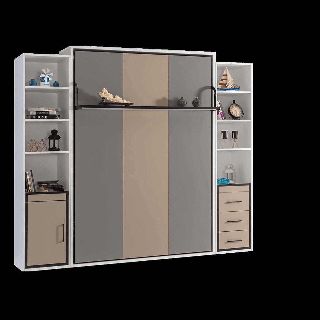 armoire lit escamotable vertical 2 places gris anthracite