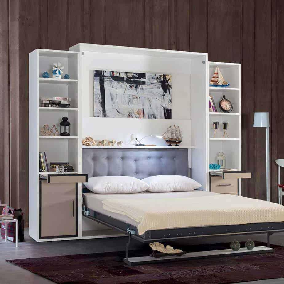Lit escamotable Pratix   armoire lit escamotable vertical 2 places lit et lampe led 1