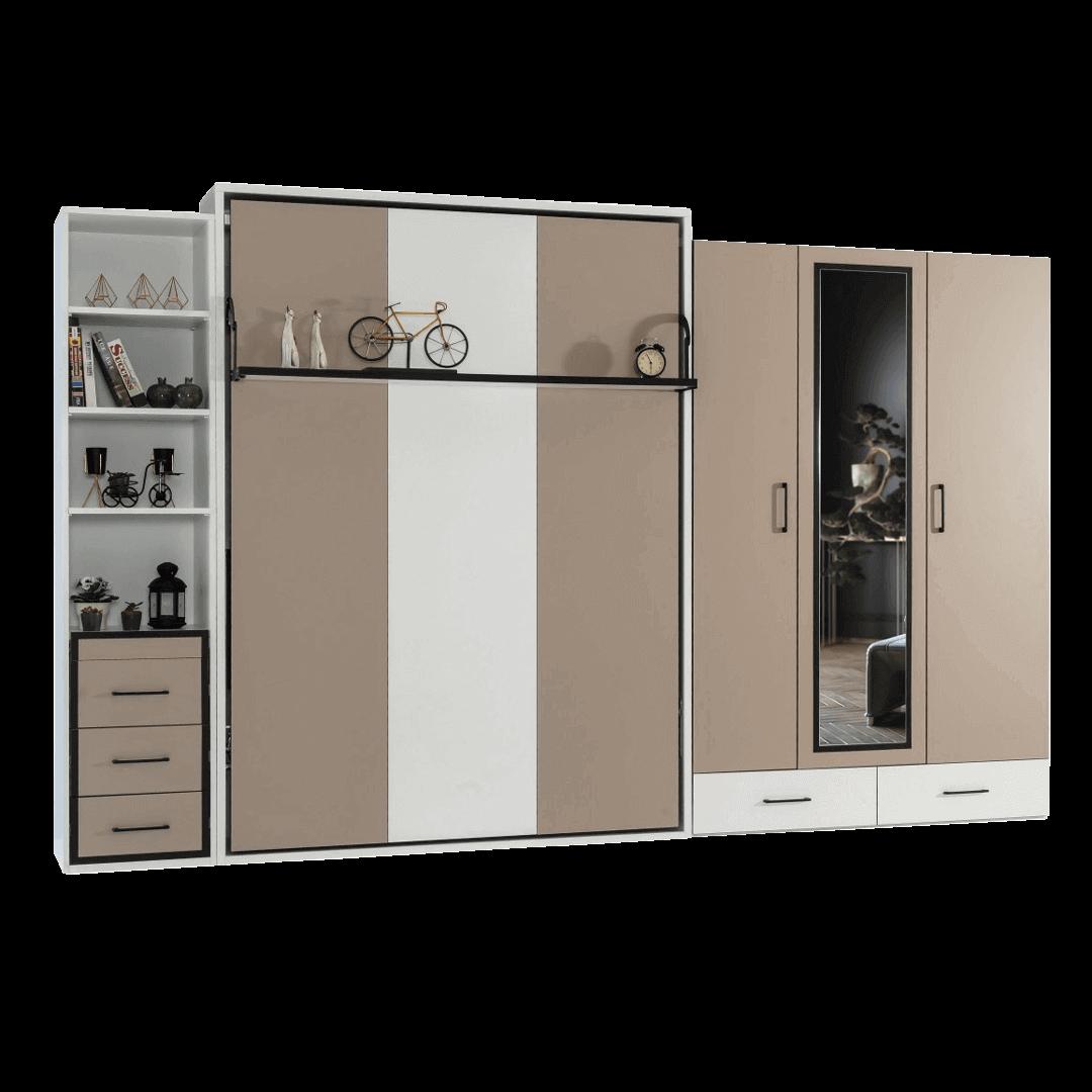 armoire lit escamotable vertical 2 places tiroirs 1 1