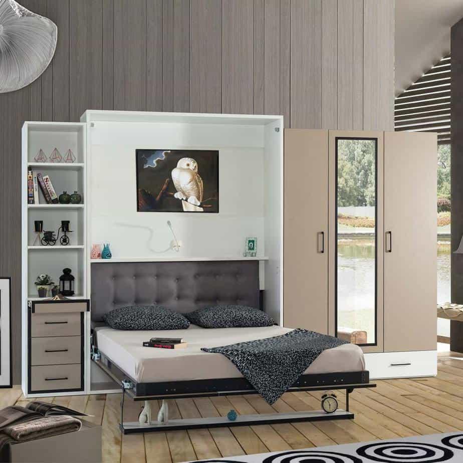Lit escamotable Pratix | armoire lit escamotable vertical 2 places tiroirs 1