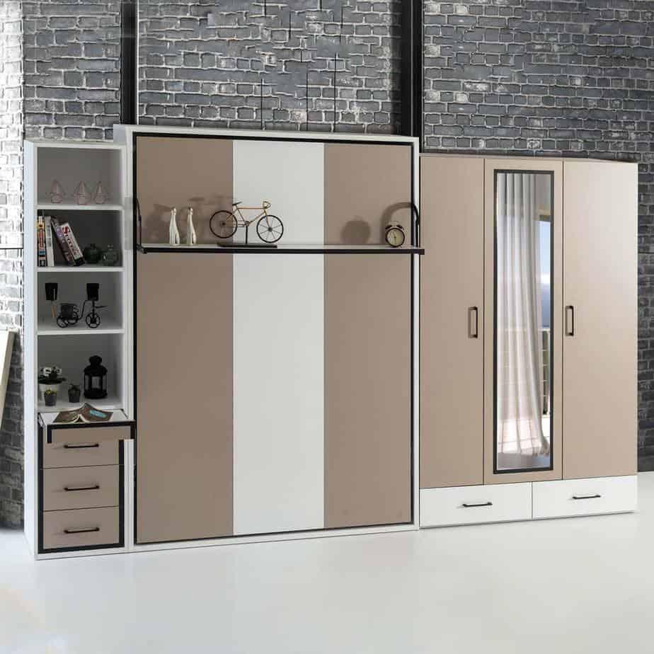 Lit escamotable Pratix   armoire lit escamotable vertical 2 places tiroirs 2