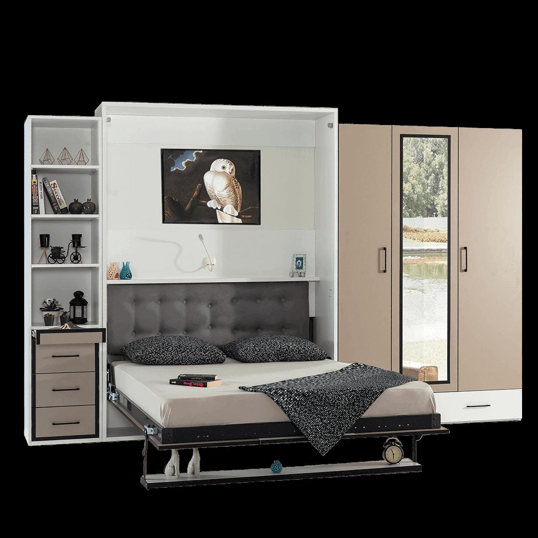 Lit escamotable Pratix   armoire lit escamotable vertical 2 places tiroirs lit ouvert