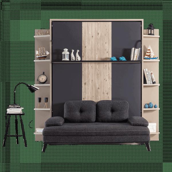 Lit escamotable Pratix | armoire lit escamotable vertical XL 2 places avec canape lit salon 01