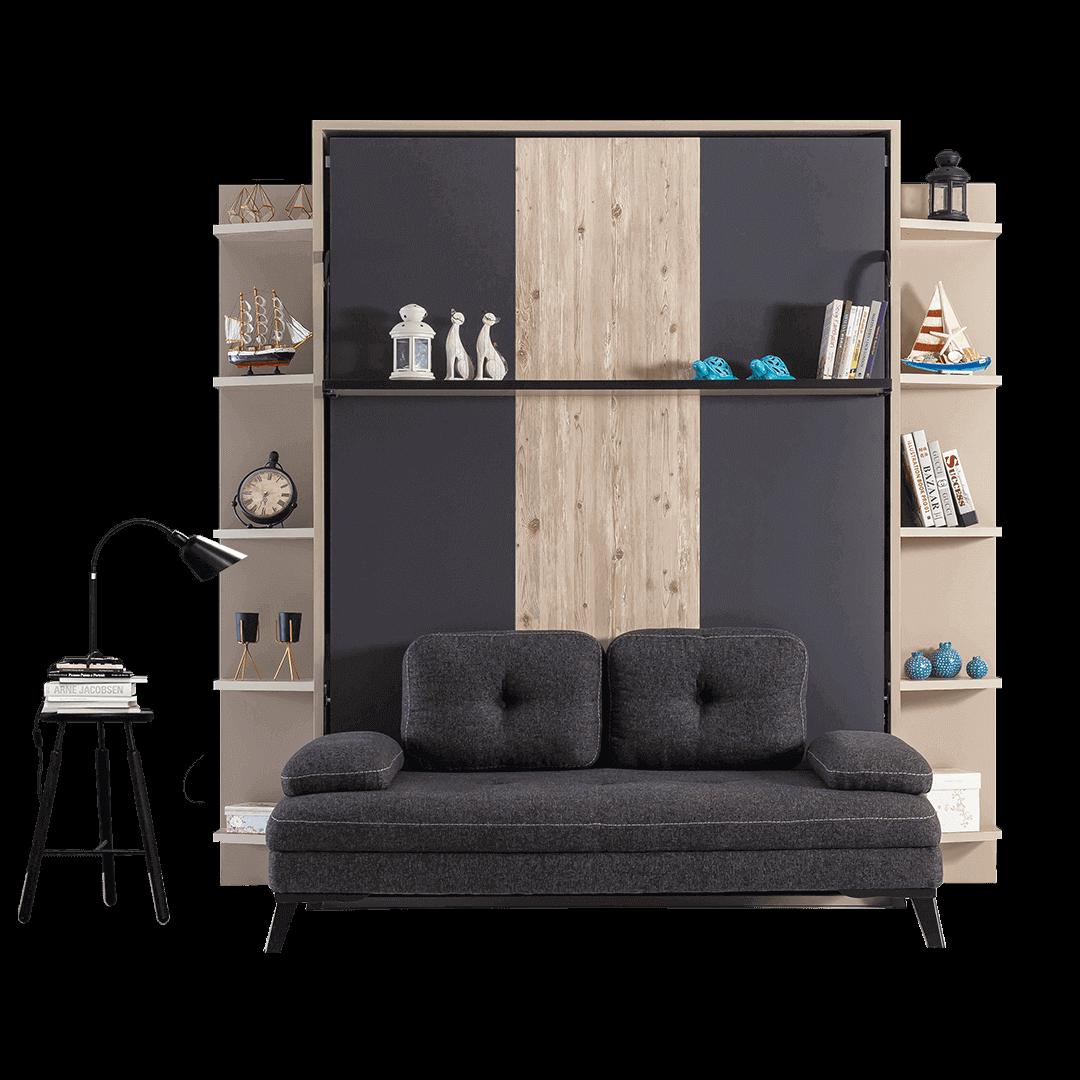 armoire lit escamotable vertical XL 2 places avec canape lit salon 01