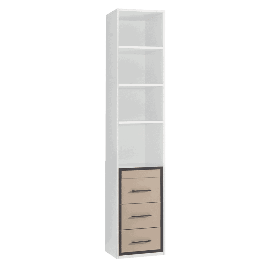 bibliothèque avec tiroirs