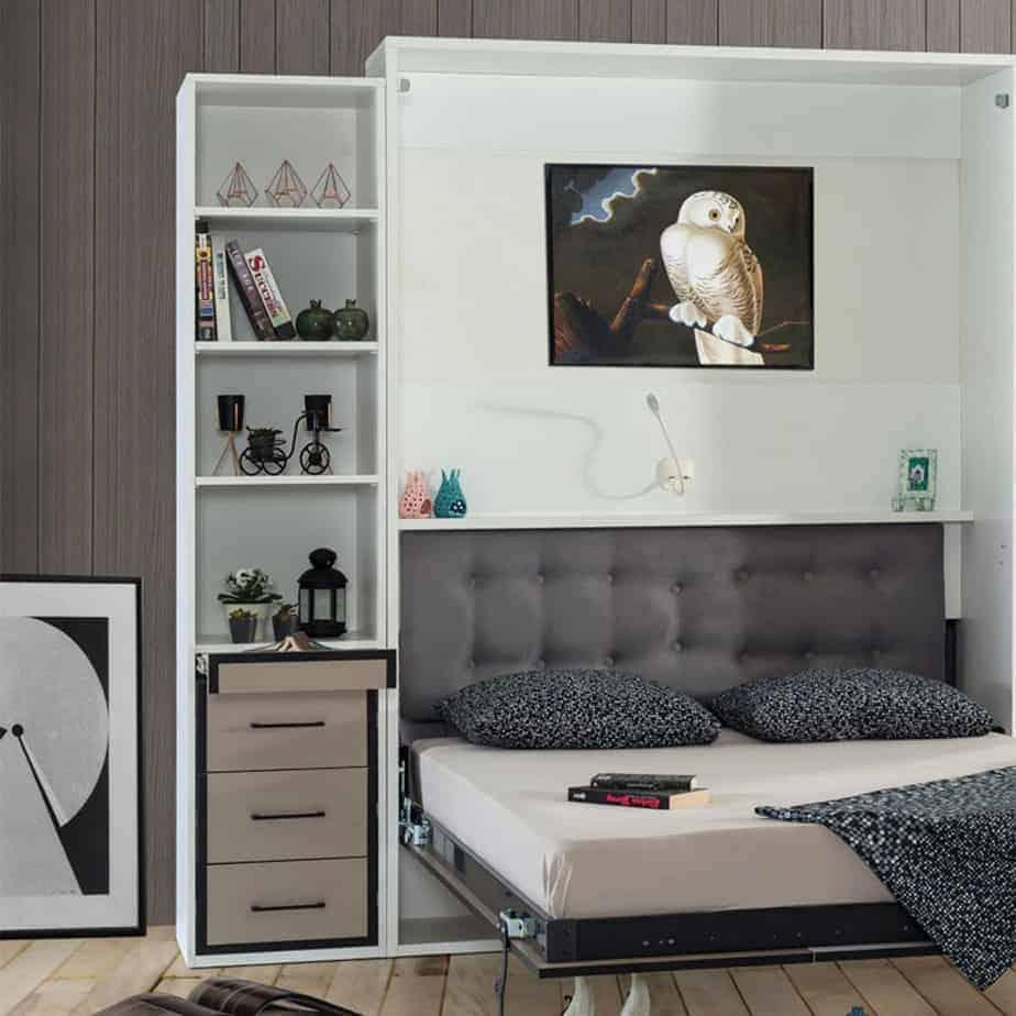 Lit escamotable Pratix | bibliotheque avec tiroirs en dessous avec lit escomontable 01