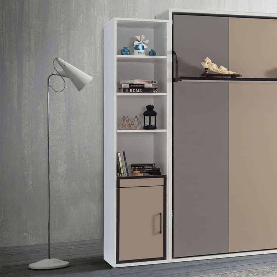 Lit escamotable Pratix   bibliotheque avec tiroirs en dessous avec lit escomontable 03