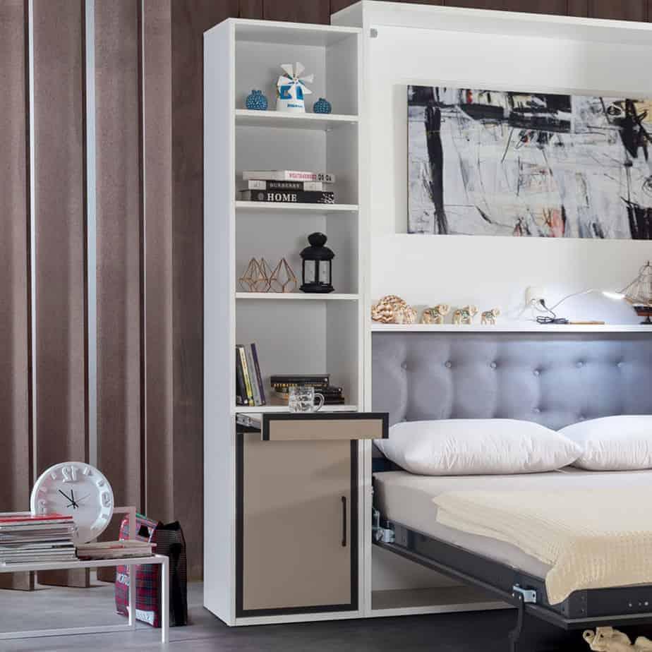 Lit escamotable Pratix   bibliotheque avec tiroirs en dessous avec lit escomontable 04