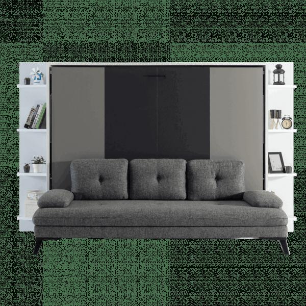 Lit escamotable Pratix | lit escamotable horizontal 2 places avec canape 001