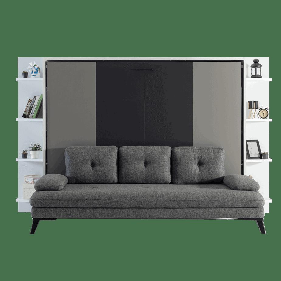 lit escamotable horizontal 2 places avec canape 001