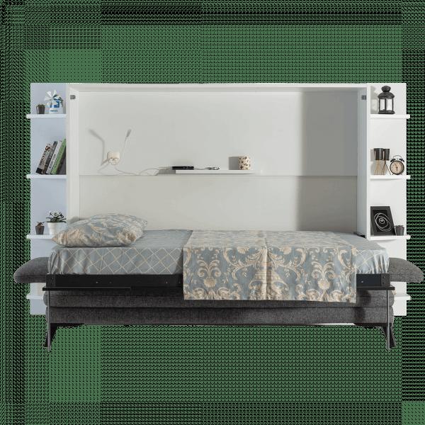 Lit escamotable Pratix | lit escamotable horizontal 2 places avec canape 002