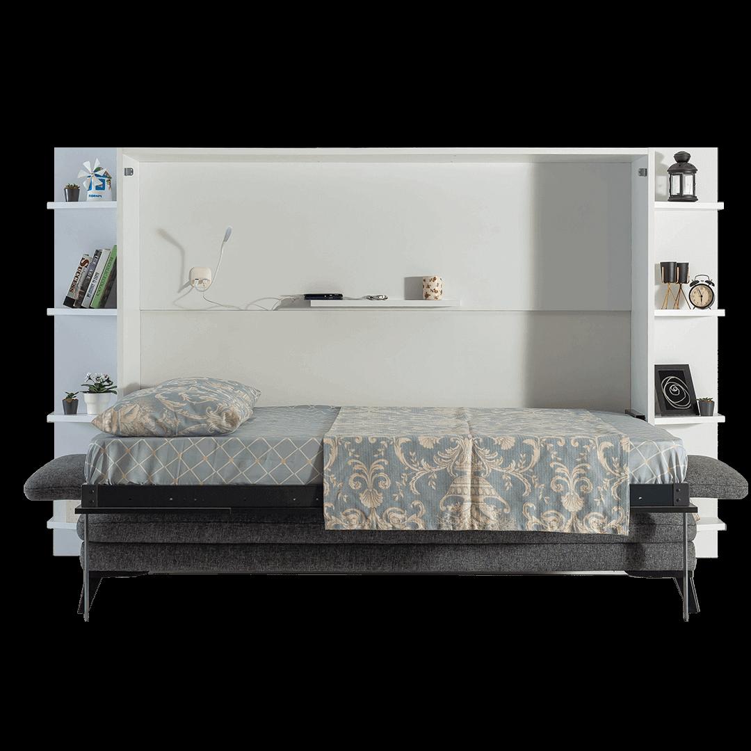 lit escamotable horizontal 2 places avec canape 002
