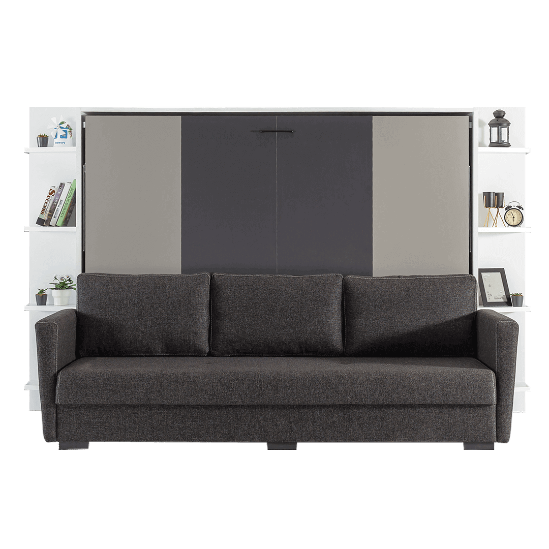 Lit escamotable Pratix | lit escamotable horizontal 2 places avec canape 003