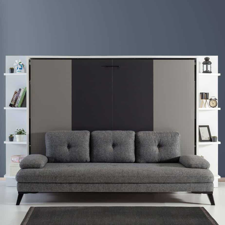 Lit escamotable Pratix | lit escamotable horizontal 2 places sans armoire 2
