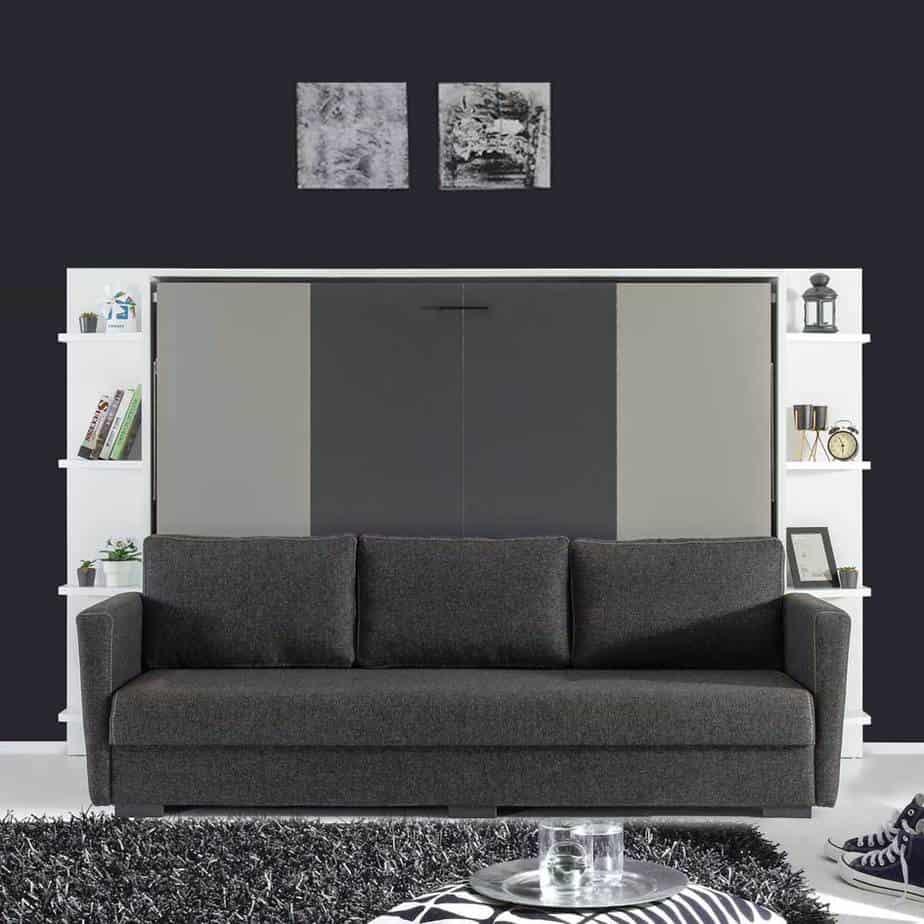 Lit escamotable Pratix | lit escamotable horizontal 2 places sans armoire