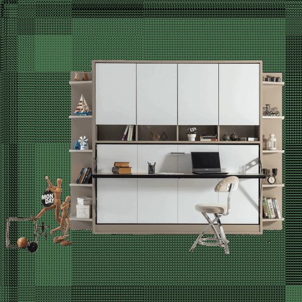 Lit escamotable Pratix | lit escamotable horizontal optimal 1 place avec armoire sur meuble fermee 1