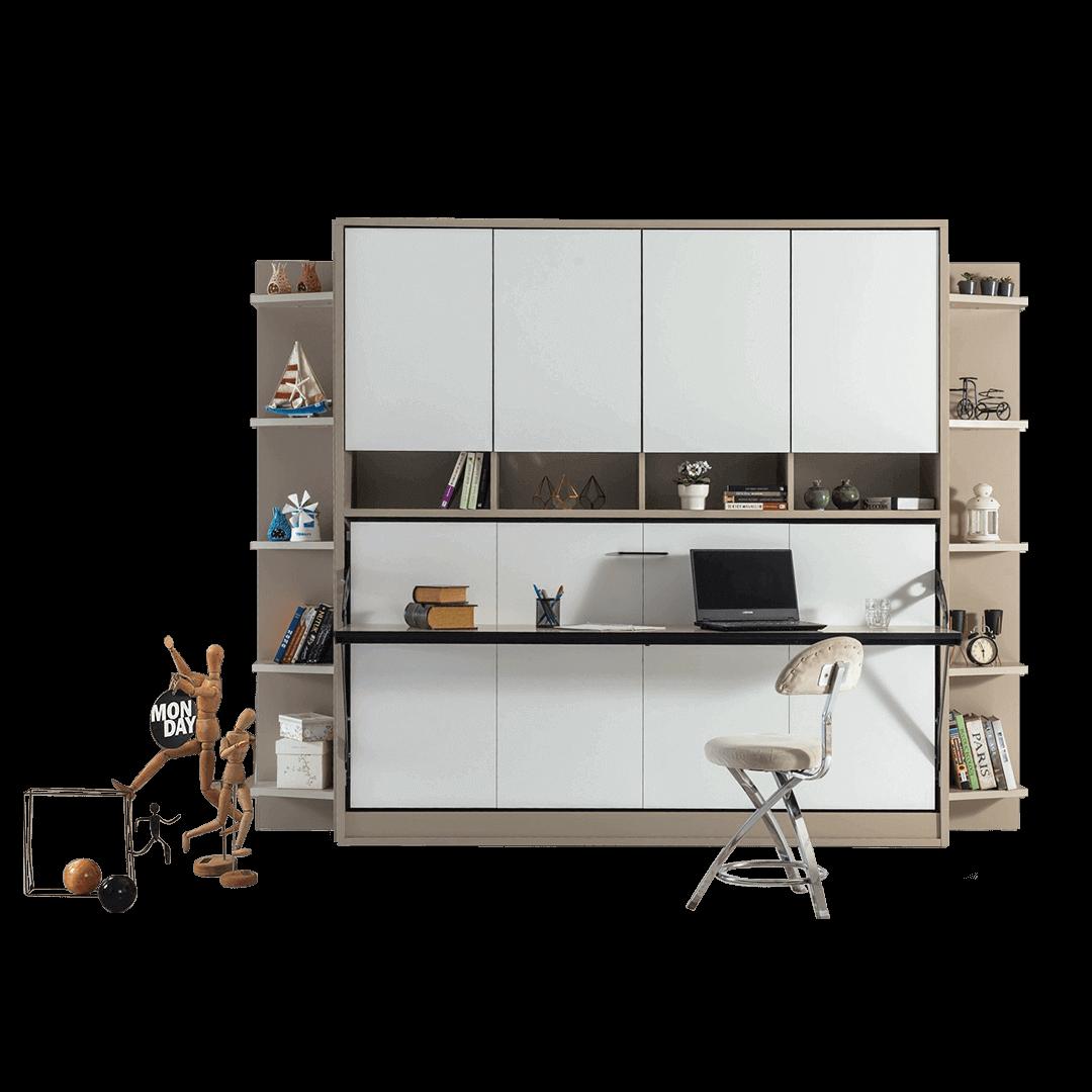 lit escamotable horizontal optimal 1 place avec armoire sur meuble fermee 1