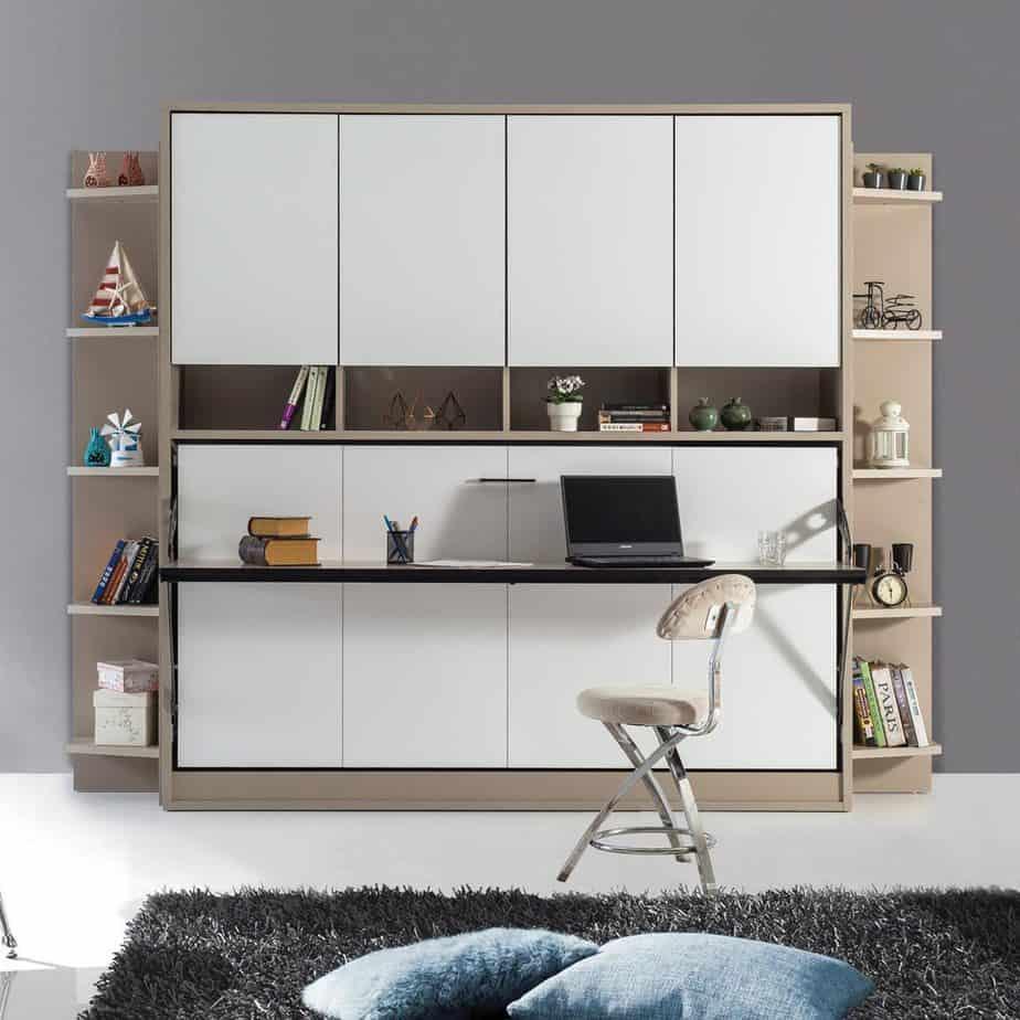 lit escamotable horizontal optimal 1 place avec armoire sur meuble fermee dans chambre