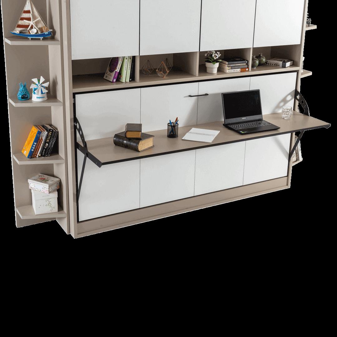 lit escamotable horizontal optimal 1 place avec armoire sur meuble fermee detail