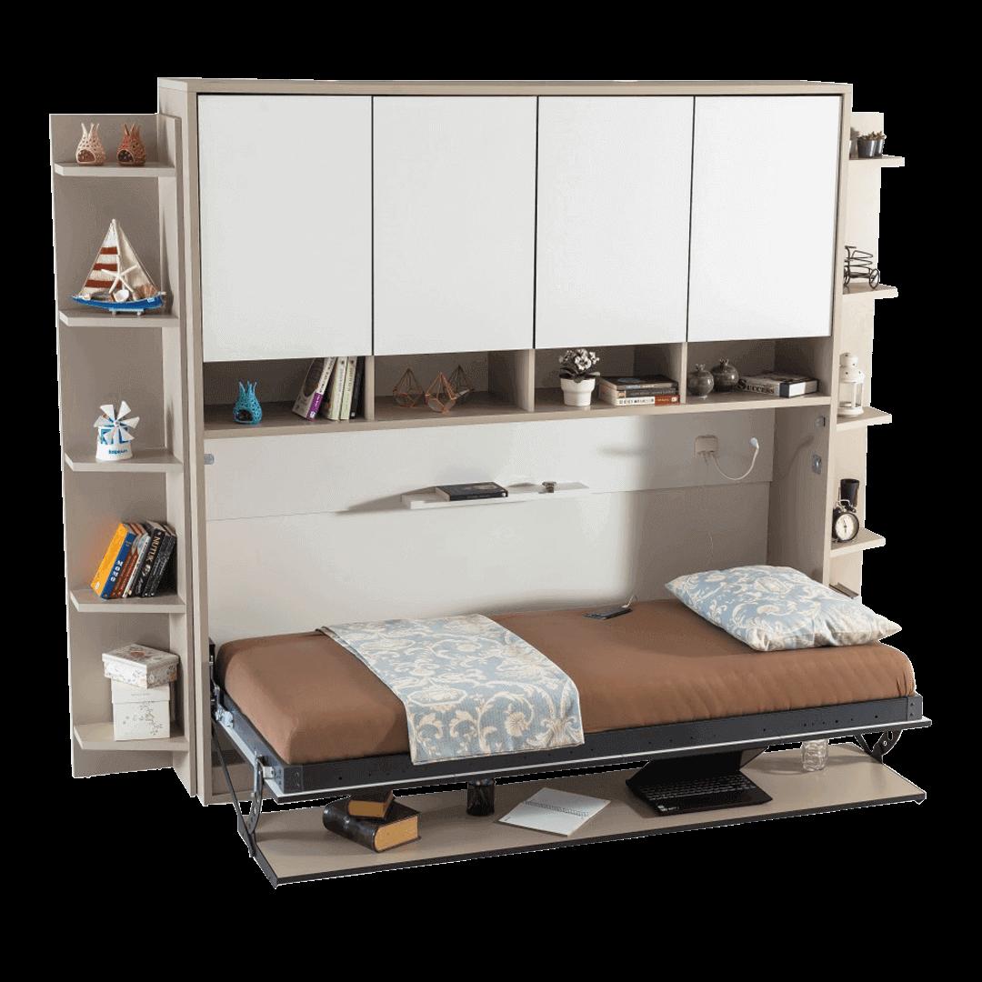 lit escamotable horizontal optimal 1 place avec armoire sur meuble ouvert 1