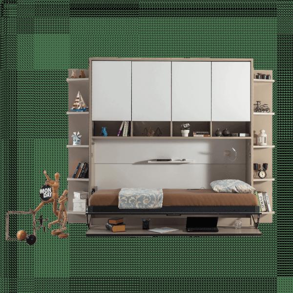 Lit escamotable Pratix | lit escamotable horizontal optimal 1 place avec armoire sur meuble ouvert