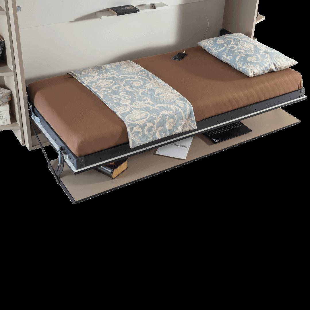 lit escamotable horizontal optimal 1 place avec armoire sur meuble ouvert details