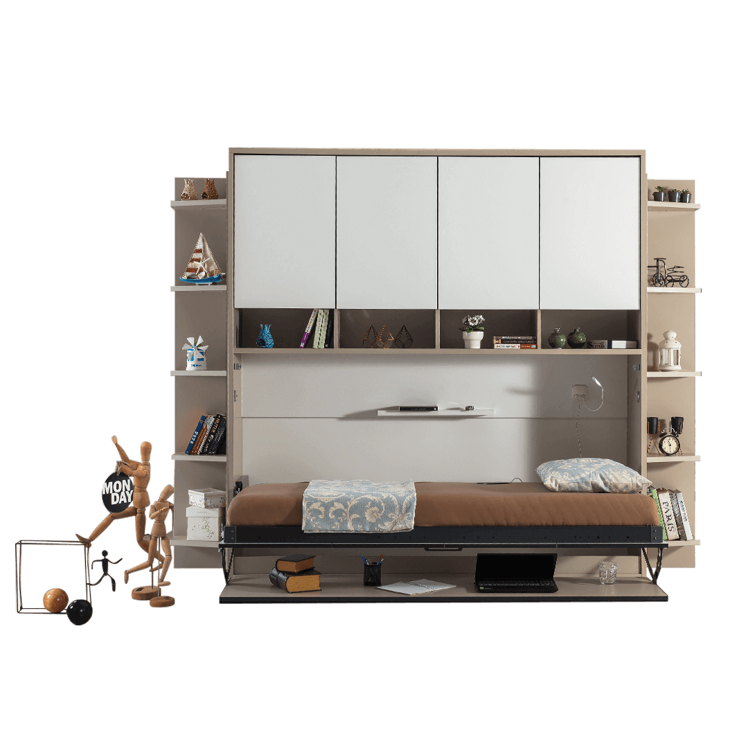 lit escamotable horizontal optimal 1 place avec armoire sur meuble ouvert