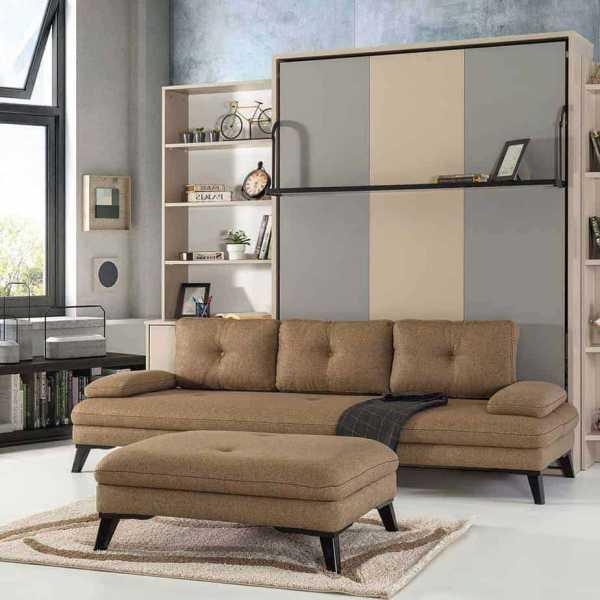 Lit escamotable Pratix | pouf scandinave avec meubles 1