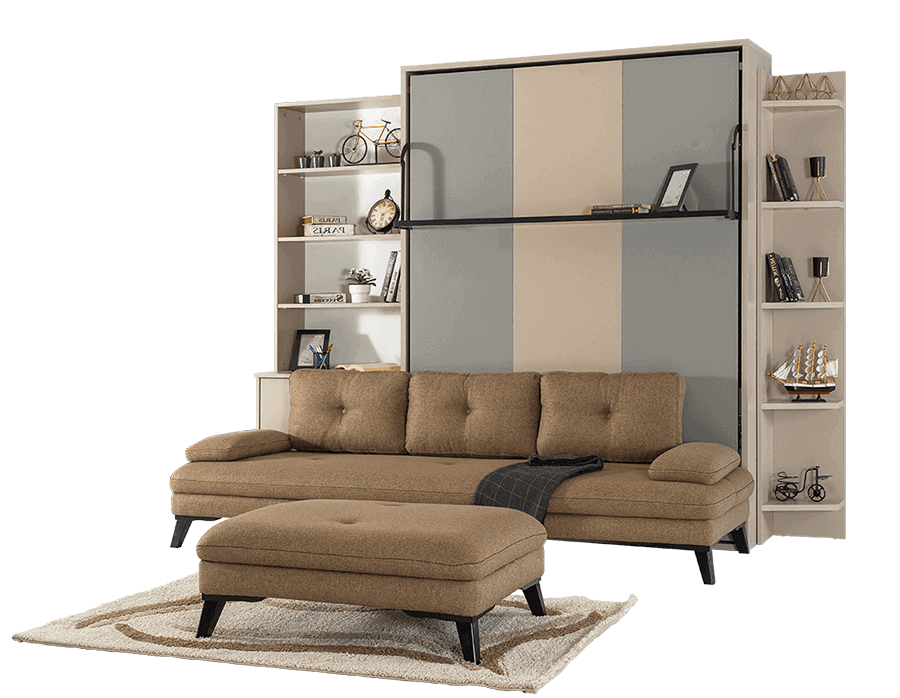 Lit escamotable Pratix | Armoire Lit escamotable vertical XL 2 Places