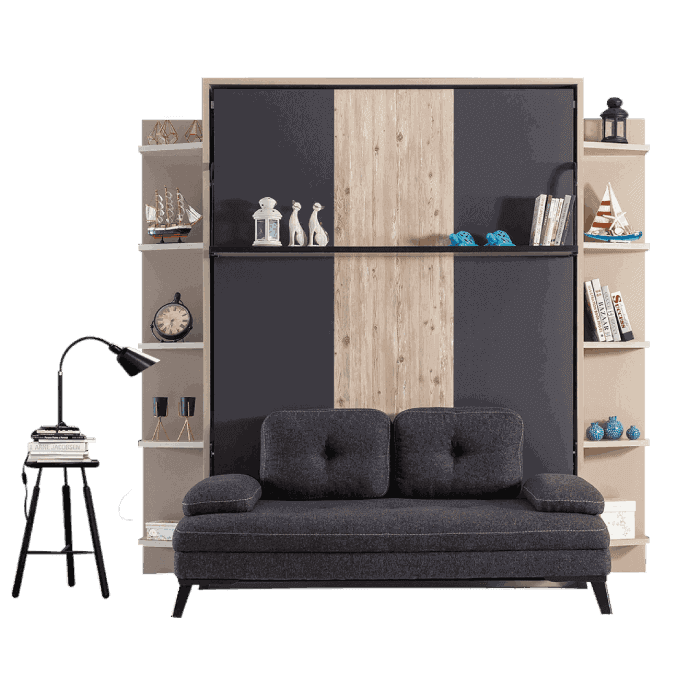 armoire lit escamotable vertical XL 2 places avec canape slider