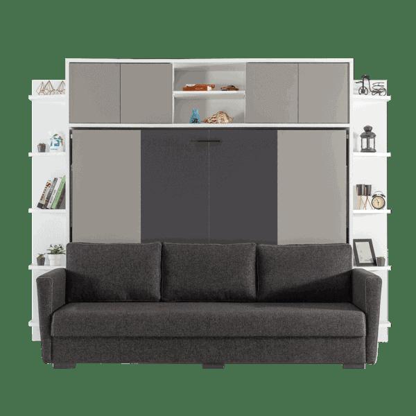 lit escamotable horizontal 2 places avec canapé